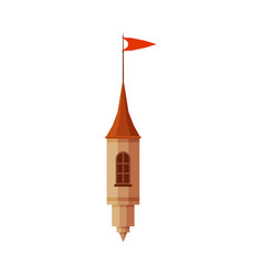 Castle tower part with red flag element of vector