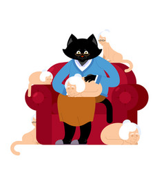 cat and grandmother in parallel universe big pet vector image