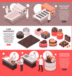 Chocolate manufacture isometric banners vector