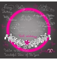 Christmas garland and handwritten words vector