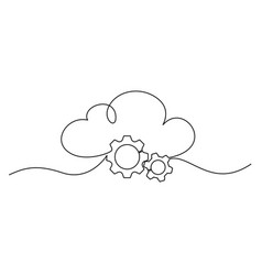 cloud technology sign clods with gears vector image