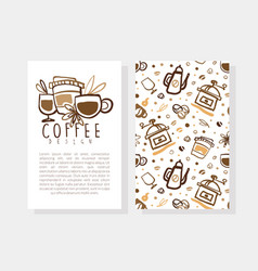 coffee card design template with text coffee shop vector image