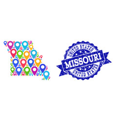 Collage map of missouri state with map markers and vector