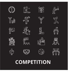 competition editable line icons set on vector image