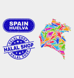 Construction huelva province map and grunge halal vector