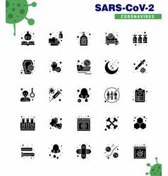 Coronavirus prevention set icons 25 solid glyph vector