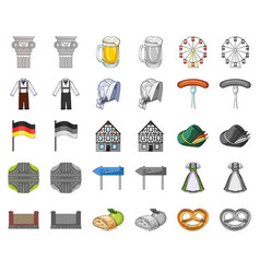 Country germany cartoonmonochrom icons in set vector