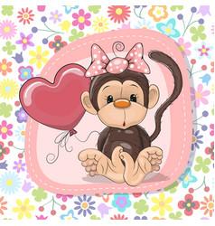 Cute cartoon monkey with balloon vector