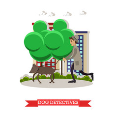detective with beagle dog vector image