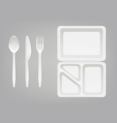 Disposable plastic lunchbox and cutlery vector