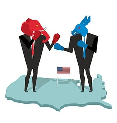Donkey and elephant fight Democrat and Republican vector
