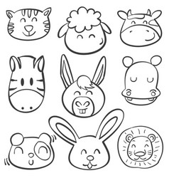 doodle animal head style collection vector image