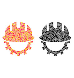 Dot development hardhat mosaic icons vector