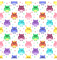 emotions of colorful owls with stars vector image