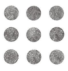 fingerprints round shaped black set vector image