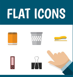 flat icon stationery set of trashcan supplies vector image