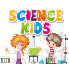 Font design for word science kids with children vector