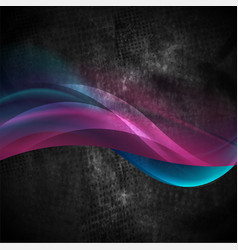 glowing purple blue waves on black grunge vector image