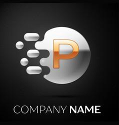 gold letter p logo silver dots splash vector image