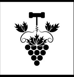 Grape with take out cork icon vector