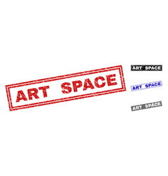 grunge art space textured rectangle stamp seals vector image