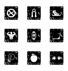 Gym icons set grunge style vector image