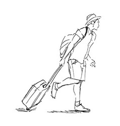 Hand sketch tourist with suitcase vector