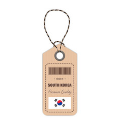 Hang tag made in south korea with flag icon vector