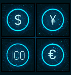 ico and dollar euro and yen currency set vector image