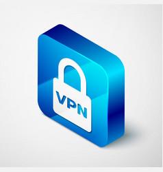 Isometric lock vpn icon isolated on white vector