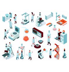 isometric science laboratory icon set vector image