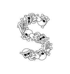 letter s skeleton bones font anatomy of an vector image