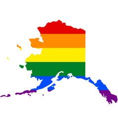 Lgbt flag map alaska vector