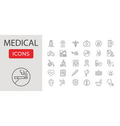 medical related line icons set vector image