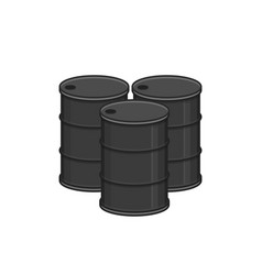 metal oil barrel set vector image