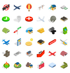 military field icons set isometric style vector image