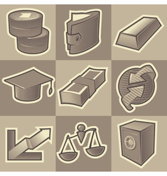 Monochrome finance icons vector