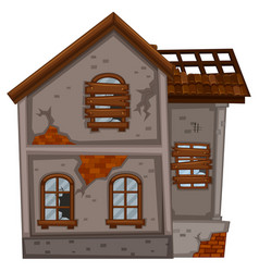 old house with broken windows vector image