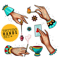oldschool tattoo hands set vector image