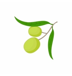 Olives on branch with leaves icon cartoon style vector image