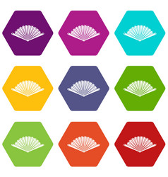 opened oriental fan icon set color hexahedron vector image