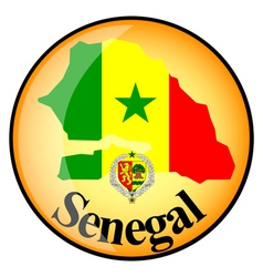 orange button with the image maps of Senegal vector image