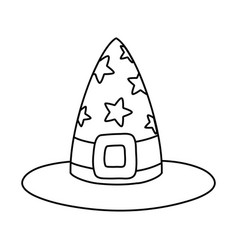 Outline witch hat with stars and ribbon style vector