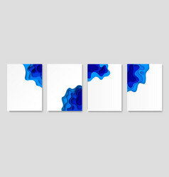 paper cut banner set blue waves vertical vector image