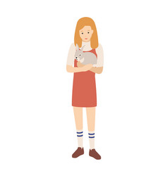 pretty young woman or girl holding her bunny vector image