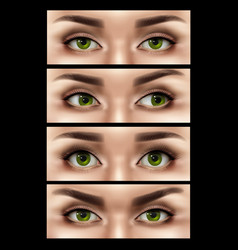 Realistic female eyes expressions set vector