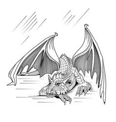 resting dragon vector image