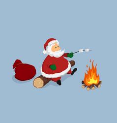 resting santa near bonfire christmas isolated vector image