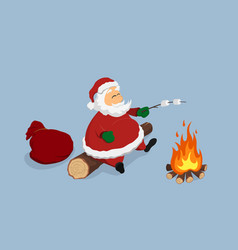 resting santa near bonfire cristmas isolated vector image