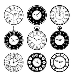 retro clocks old roman vintage round watches vector image